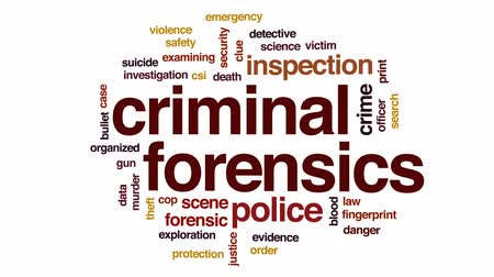 evidência : Criminal forensics animated word cloud, text design animation.