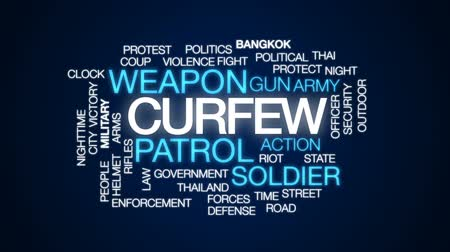 солдат : Curfew animated word cloud, text design animation.