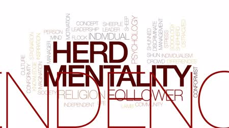 gazdasági pangás : Herd mentality animated word cloud, text design animation. Kinetic typography.
