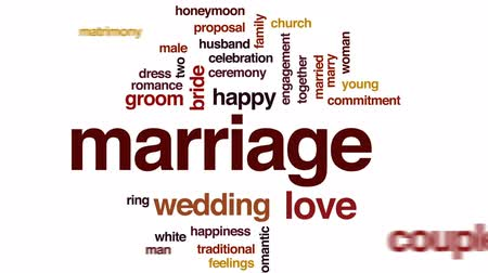 wed : Marriage animated word cloud, text design animation.