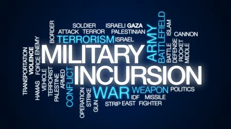 lutador : Military incursion animated word cloud, text design animation.