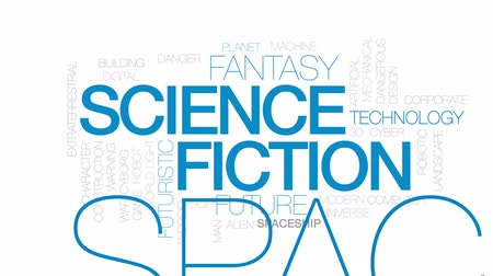 андроид : Science fiction animated word cloud, text design animation. Kinetic typography.