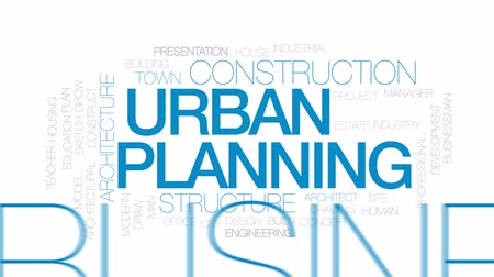 projects : Urban planning animated word cloud, text design animation. Kinetic typography.