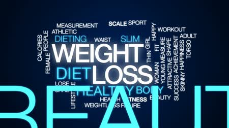 mérés : Weight loss animated word cloud, text design animation. Stock mozgókép
