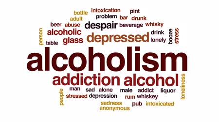 алкоголизм : Alcoholism animated word cloud, text design animation.