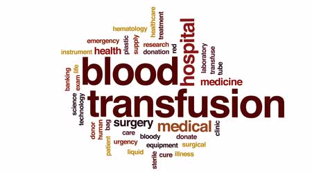 kanlı : Blood transfusion animated word cloud, text design animation. Stok Video