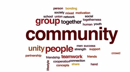 bonding : Community animated word cloud, text design animation.