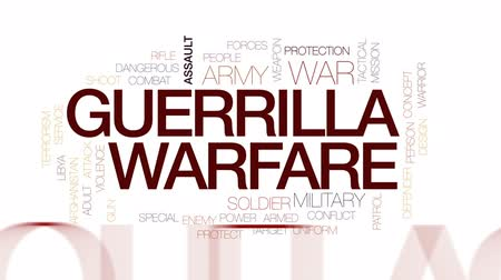 guerrilla : Guerrilla warfare animated word cloud, text design animation. Kinetic typography.
