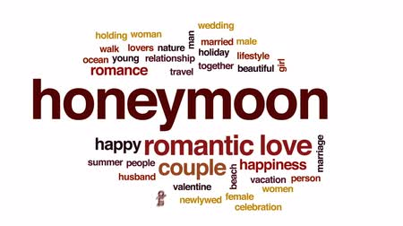новобрачный : Honeymoon animated word cloud, text design animation.