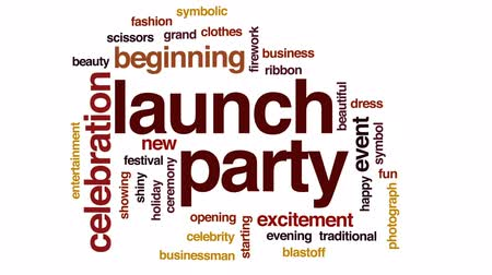começando : Launch party animated word cloud, text design animation.
