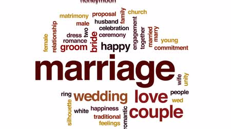 oświadczyny : Marriage animated word cloud, text design animation.
