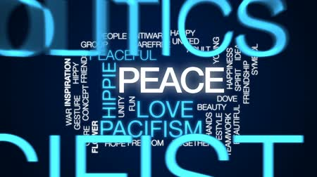 hippie : Peace animated word cloud, text design animation.