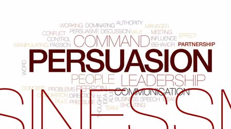 persuasion : Persuasion animated word cloud, text design animation. Kinetic typography.