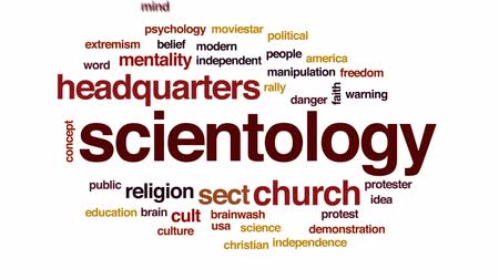 культ : Scientology animated word cloud, text design animation. Стоковые видеозаписи