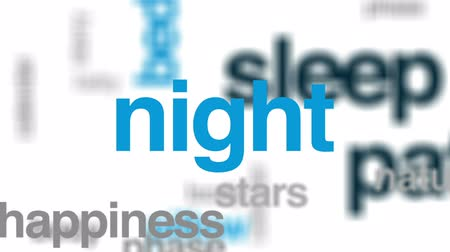 meia noite : Sleep pattern animated word cloud, text design animation.