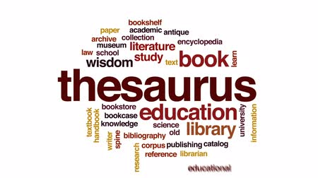 ansiklopedi : Thesaurus animated word cloud, text design animation. Stok Video