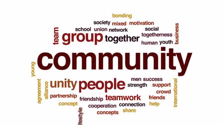 crowd together : Community animated word cloud, text design animation.