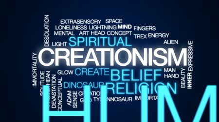 dino : Creationism animated word cloud, text design animation. Stock Footage
