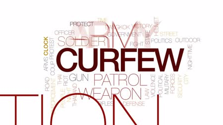 siyasi : Curfew animated word cloud, text design animation. Kinetic typography. Stok Video