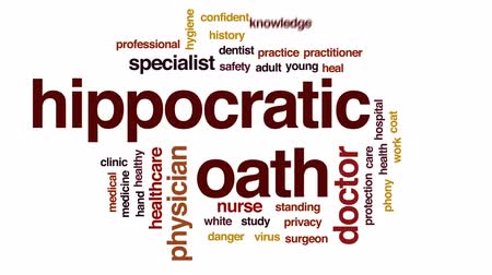 privacy : Hippocratic oath animated word cloud, text design animation. Stock Footage