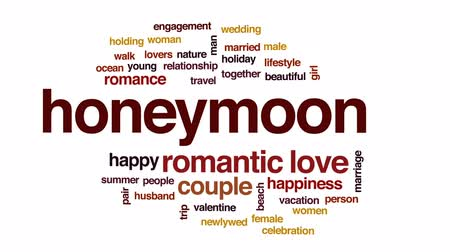 nowożeńcy : Honeymoon animated word cloud, text design animation.