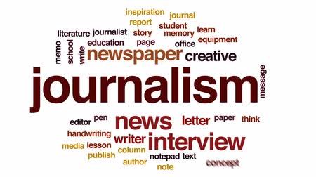 jornalismo : Journalism animated word cloud, text design animation.