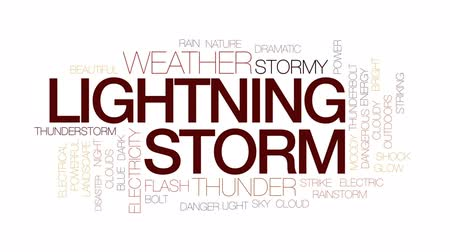 electric strike : Lightning storm animated word cloud, text design animation. Kinetic typography.