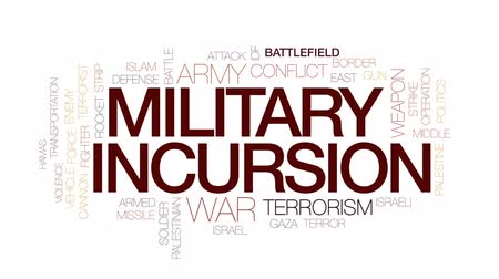 roket : Military incursion animated word cloud, text design animation. Kinetic typography.