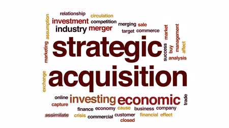 oběh : Strategic acquisition animated word cloud, text design animation.