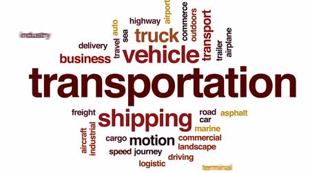 řídit : Transportation animated word cloud, text design animation.