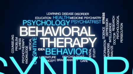 perseguição : Behavioral therapy animated word cloud, text design animation.