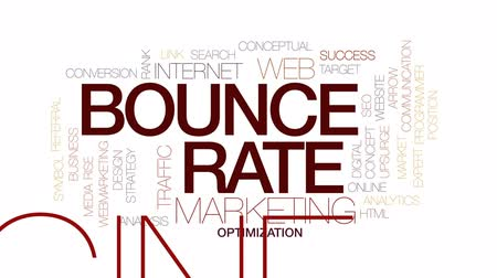 optimalizace : Bounce rate animated word cloud, text design animation. Kinetic typography.