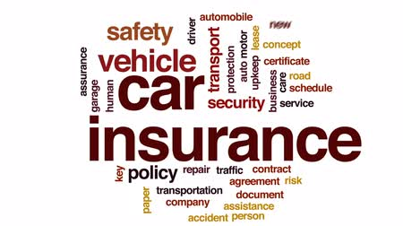 dokumentumok : Car insurance animated word cloud, text design animation.