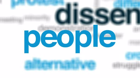 mob : Dissent animated word cloud, text design animation.