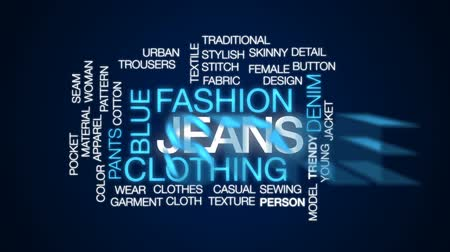 kalhoty : Jeans animated word cloud, text design animation.