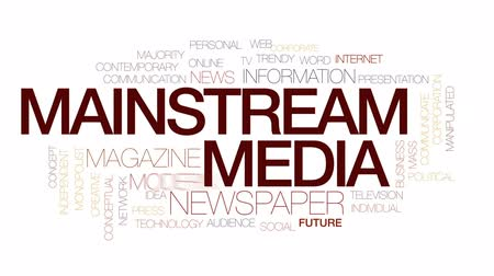 manipulated : Mainstream media animated word cloud, text design animation. Kinetic typography.