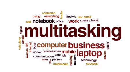 task : Multitasking animated word cloud, text design animation. Stock Footage