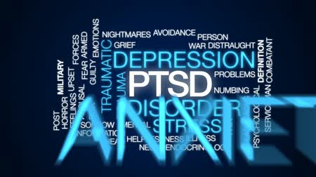 traumatic : PTSD animated word cloud, text design animation. Stock Footage