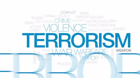 arma de fogo : Terrorism animated word cloud, text design animation. Kinetic typography.