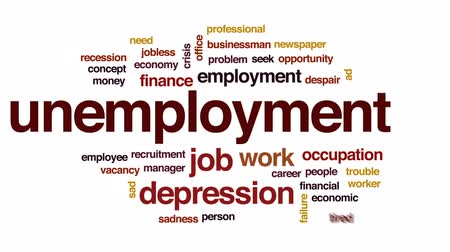 ищу : Unemployment animated word cloud, text design animation.