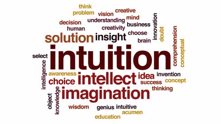 понимание : Intuition animated word cloud, text design animation.