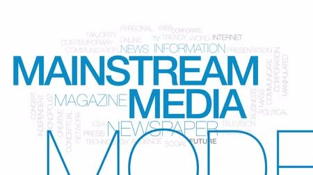 mainstream : Mainstream media animated word cloud, text design animation. Kinetic typography.
