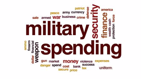 despesas : Military spending animated word cloud, text design animation.