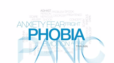 fobi : Phobia animated word cloud, text design animation. Kinetic typography. Stok Video