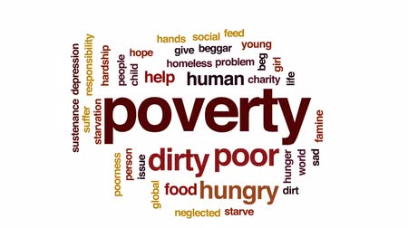 neglected : Poverty animated word cloud, text design animation.
