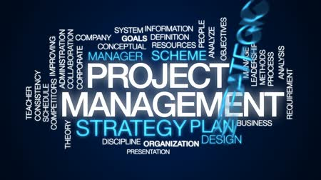 fegyelem : Project management animated word cloud, text design animation.