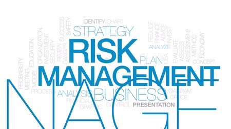 assess : Risk management animated word cloud, text design animation. Kinetic typography.