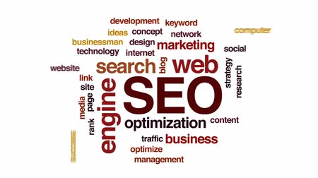 on site research : SEO animated word cloud, text design animation. Stock Footage