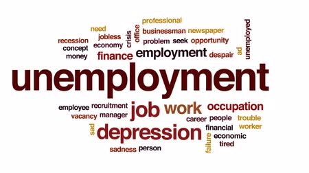 bezrobotny : Unemployment animated word cloud, text design animation.