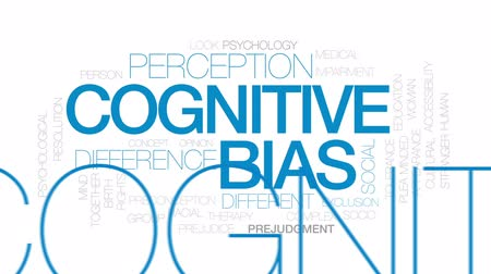 смещение : Cognitive bias animated word cloud, text design animation. Kinetic typography.